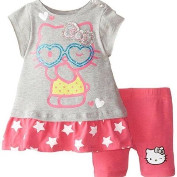 ad94b0ada Hello Kitty Matching Sets | Baby Girl 2 Pc Top Legging Short Set ...